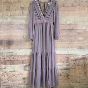Flying Tomato Gray/Purple Embroidered Boho Maxi